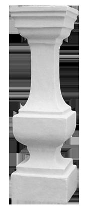Tralka nr 6 Wysokość: 81,5 cm, dolny kwadrat: 23,5x23,5 cm, górny kwadrat: 24,5x24,5 cm, odlew żelbetowy.